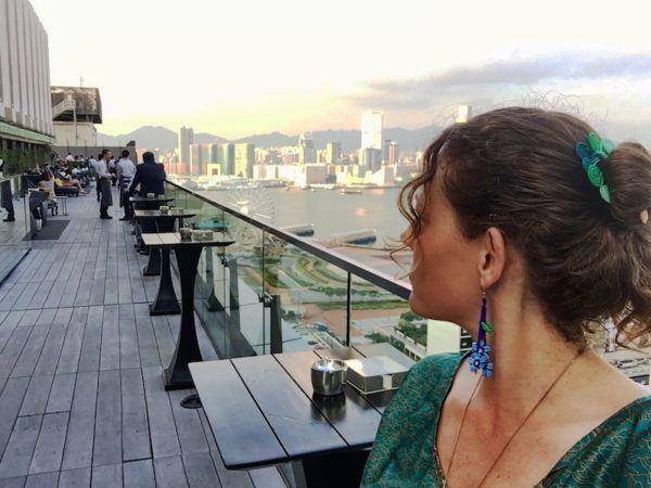 Hong Kong sunset from a rooftop bar