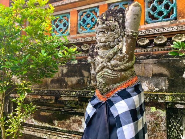dressed up statue in Bali