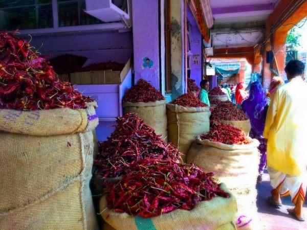 chilis on sale in Jaipur India