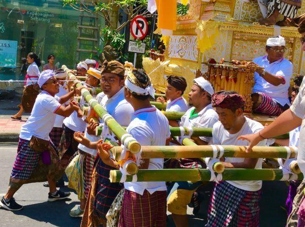 cremation ceremony parade in Ubud Bali