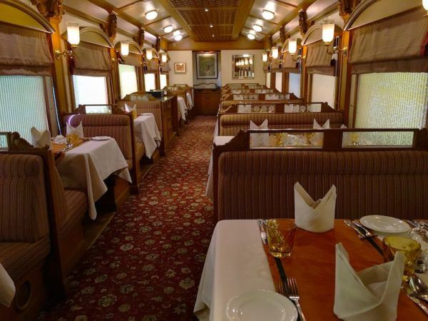 restaurant car on the Deccan Odyssey in India