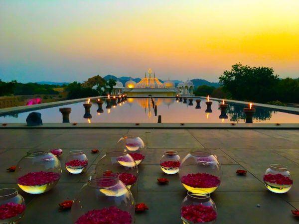 sunset at the Fairmont in Jaipur