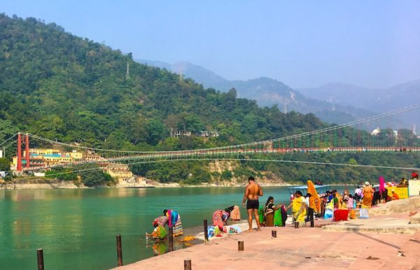 Bathing in the Ganges River in Rishikesh