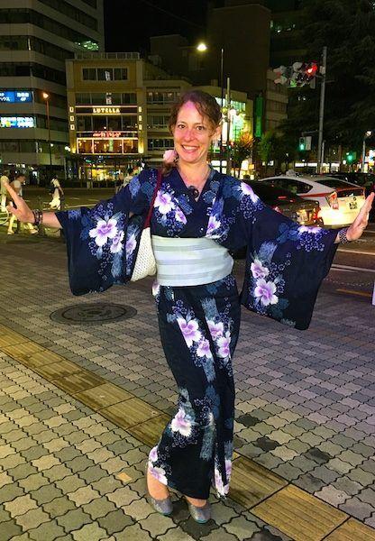 wearing a full yukata in Japan