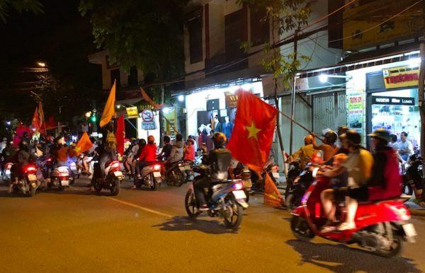 Vietnam flag on bikes