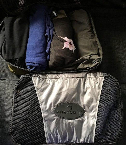 Two packing cubes, used for my Anatomie travel capsule wardrobe challenge