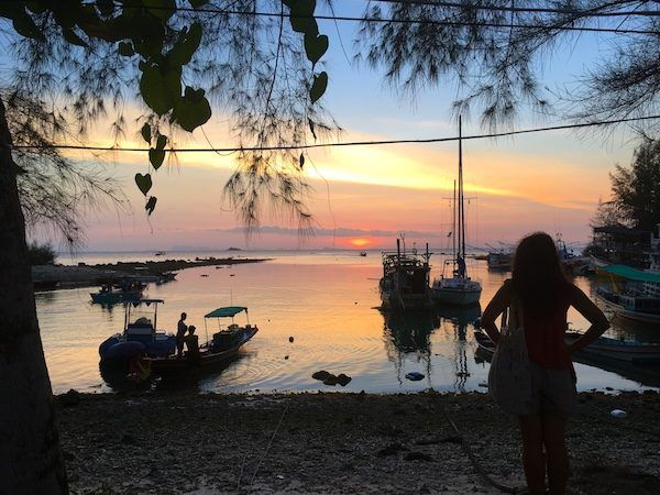 Watching the sunset at the beach in Koh Phangan, Thailand, 2018