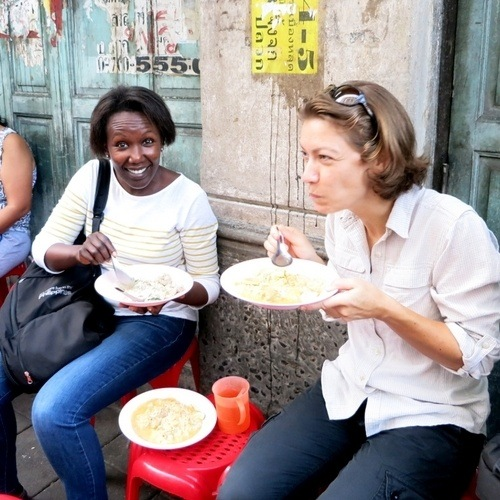 Rosemary and Claire of Authentic Food Quest, eating street food