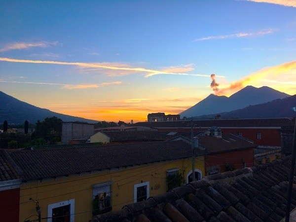 Go to the terrace at Antigua Brewing Company for the best sunsets overlooking Antigua Guatemala and the nearby volcano