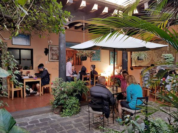 Fernandos Kaffee in Antigua Guatemala has attractive seating, great coffee, and cheap typical Guatemalan breakfasts