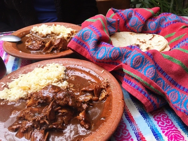 Where to eat in Antigua? Go to Rincon Tipico for typical Guatemalan food - and it's cheap! Pictured here: chicken pepian and tortillas