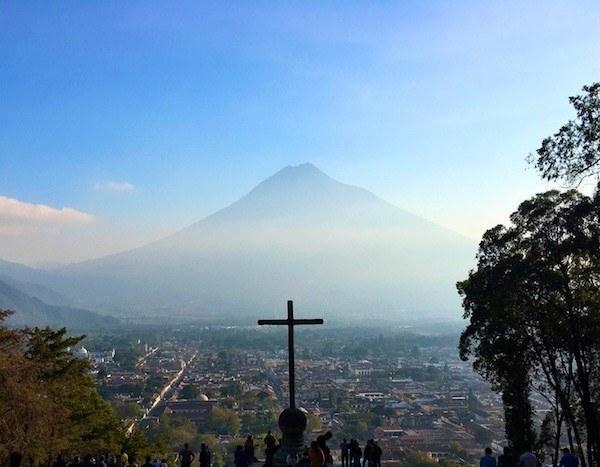 The view from Cerro de la Cruz, overlooking Antigua Guatemala and a big volcano