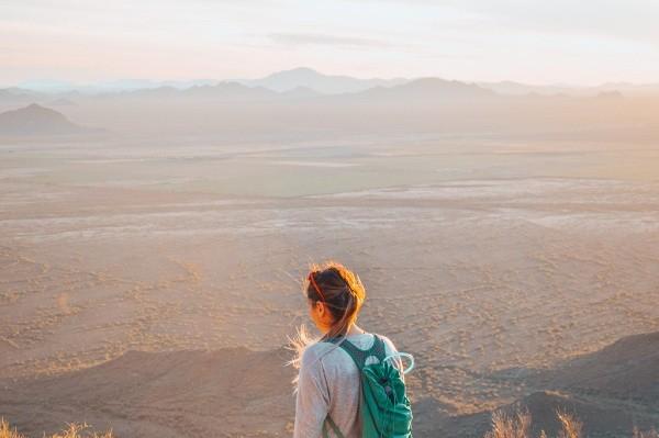 Michelle Schroeder-Gardener, making money blogging at Making Sense of Cents, overlooking the desert