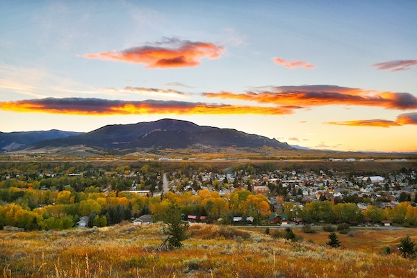 Red Lodge Montana - sunset over the town with mountain behind it