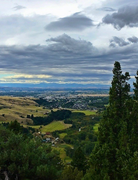 view of Bozeman Montana from the Drinking Horse Trail, one of many hiking trails around Bozeman