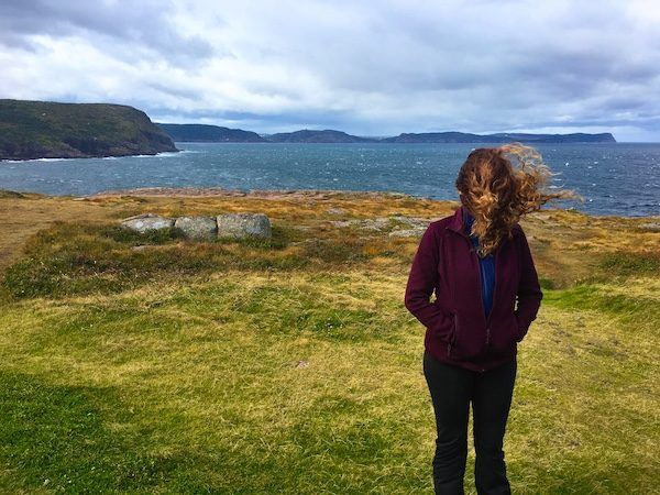 Cape Spear Newfoundland with hair in my face