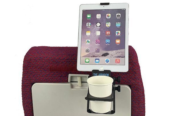 The Air Hook flight support device - Best Tool For Tablets and Drinks While Maximizing Airline Seat Space