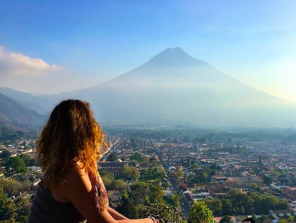 Nora Dunn, overlooking Antigua Guatemala with a big volcano in the distance