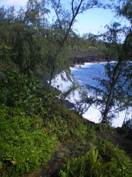The trail down the cliffside to Kehena beach