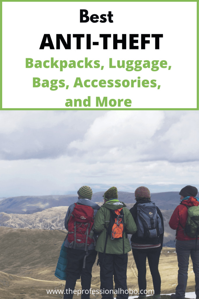 Get a leg up on petty theft with these popular and stylish anti-theft bags, gear, tools, and tips to keep your stuff safe while traveling! #anti-theft #Pacsafe #Travelon #backpacks #travelgear #traveltips #travelsecurity #TheProfessionalHobo