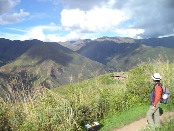 Nora with Pacsafe Venturesafe security travel bag in Peru