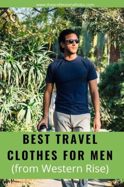 The Best Travel Clothes for Men from Western Rise: Look no further than these four simple pieces of clothing. It's all you need to travel! #travelclothes #menstravelclothes #travelshirts #merinowool #TheProfessionalHobo #WesternRise
