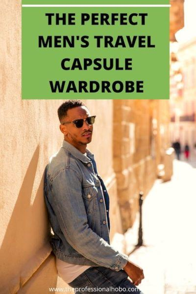 Travel Capsule Wardrobes aren't just for women! Here's what makes a perfect travel capsule wardrobe for men; carefully selected materials and styles to match one another an any occasion. #travelclothingmen #travelcapsulemen #menstravelclothes #merinowool #WesternRise #TheProfessionalHobo #travelgear