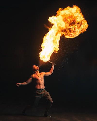 Mike Corey breathing fire