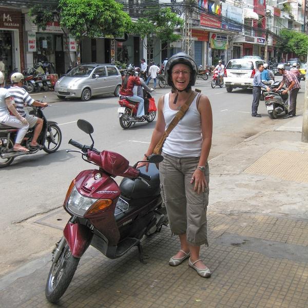Sherry Ott in Vietnam on her Motorbike
