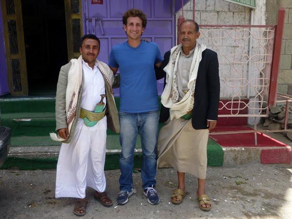 Derek with his guides in Yemen on Wandering Earl Tours