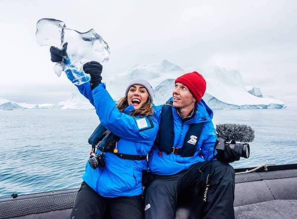 Matt and Karla Bailey in the Canadian Arctic with Icebergs