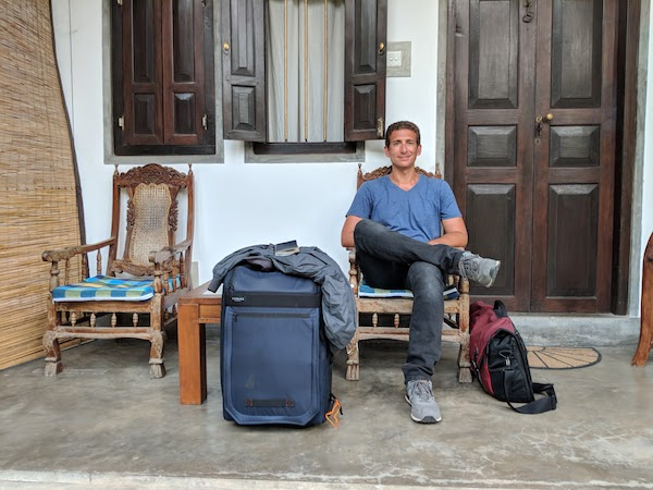 Wandering Earl with his luggage traveling full-time for 21 years