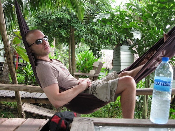 Leif Pettersen in a hammock, traveling full-time and travel writing