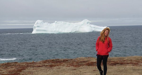 Candice Walsh with an iceberg in her home province of Newfoundland