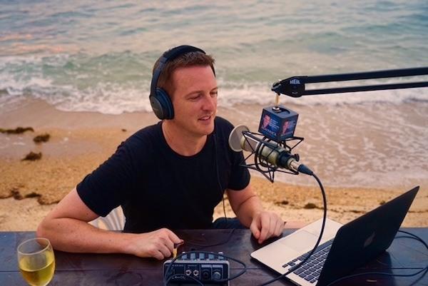 Matt Bowles recording his podcast The Maverick Show