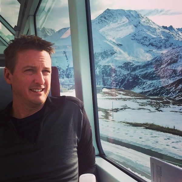 Matthew Bowles Running Maverick Investor Group from the Glacier Express in Switzerland