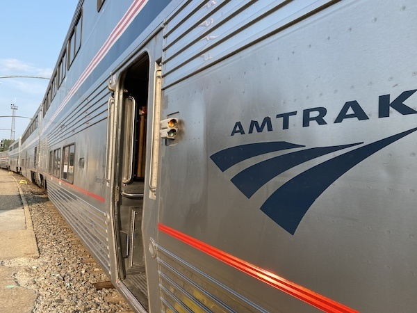 Adventures with Amtrak - the plan takes shape! Outside of an Amtrak train