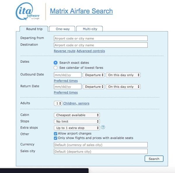 ITA Matrix Airfare Search - Best Search Engine for Flights