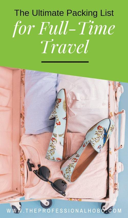 Time for packing! Want the ultimate packing list? Here's exactly what I pack for my full-time travels - down to every last item. #FullTimeTravel #TravelPlanning #BudgetTravel #TravelTips #PackingTips #CarryOnTravel #TravelGear #TravelClothing